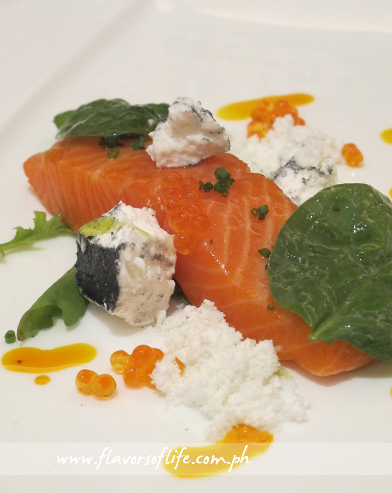 Tasmanian Ocean Trout Confit with Woodside Swag Ashed Goat's Cheese, Spinach-Rocket Salad and Lemon Myrtle Snow