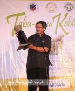 Tabu-an organizer Chef Rafael 'Tibong' Jardeleza II during the awarding ceremony