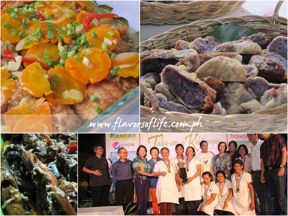 Grand champion team Baranggay Nutrition Scholars of Santa Barbara with their dish entries Escabeche nga Isda, Buching Camote and Nilagpang nga Pantat