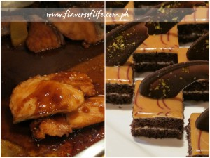 Salmon Teriyaki (left) and Caramel Brownies (right) formed part of the dinner buffet