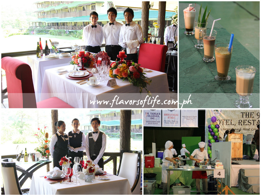 University of Baguio bagged gold in the Table Setting competition; coffee drinks from the Coffee Concoctions event; participants at work at the Baguio Country Club's Multi Purpose Hall; and it was another gold in the Table Setting competition for University of the Cordilleras