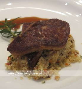 Pan-fried Duck Foie Gras with Rosemary Infused Duck Jus and Cepe Couscous from InterContinental Phoenicia, Lebanon