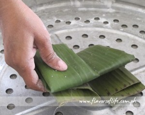 Step 5: Place banana leaf packets in a steamer and cook for 15 to 20 minutes.
