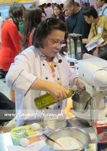 Chef Dorothy Ferreria doing a baking demo for Global Pacific at today's Bakery Fair 2013