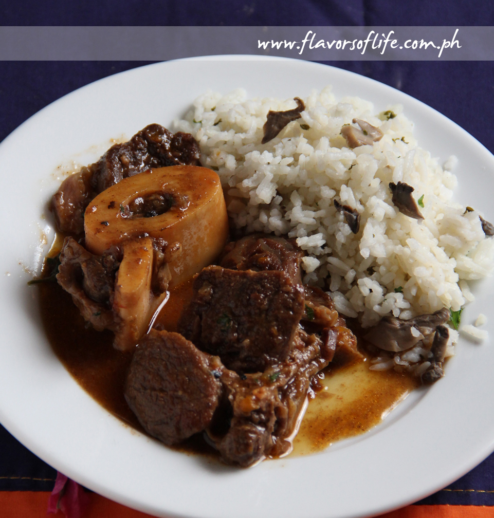 Cinnamon Spiced Osso Buco in Red Wine Tomato Sauce with Easy & Quick Mushroom-Parsley Rice Risotto