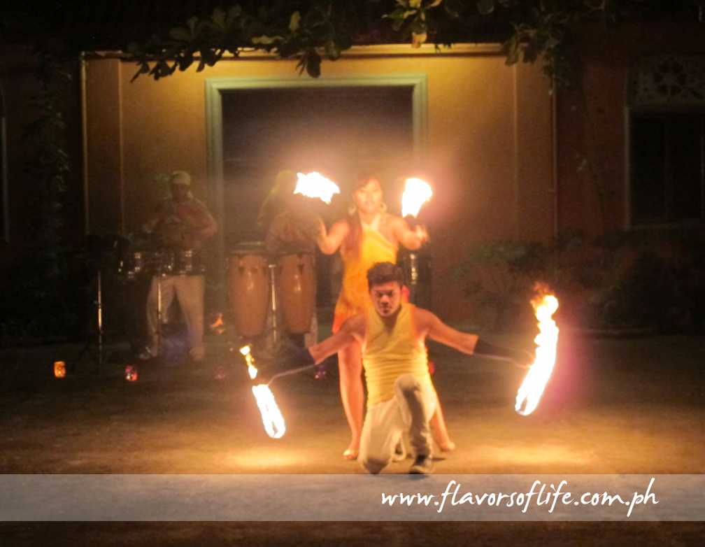 Firedancing opened the evening of delightful Moroccan food and fun at Emily's Garden