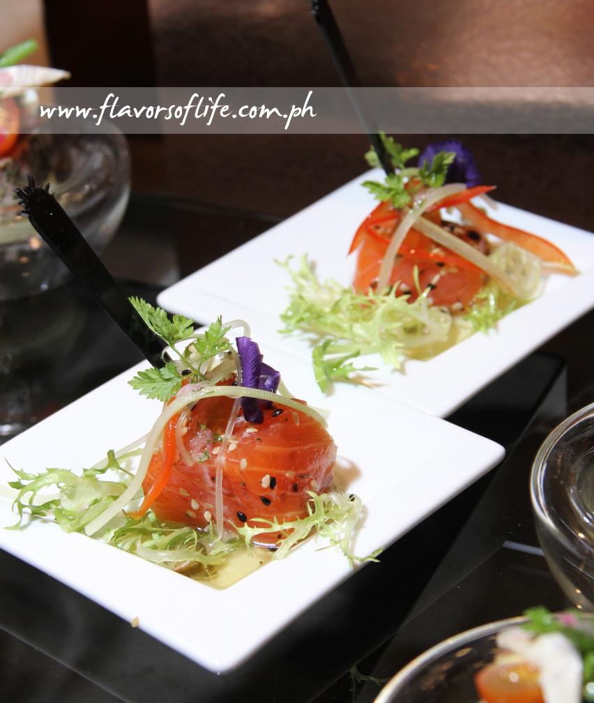 Salmon appetizer in individual servings