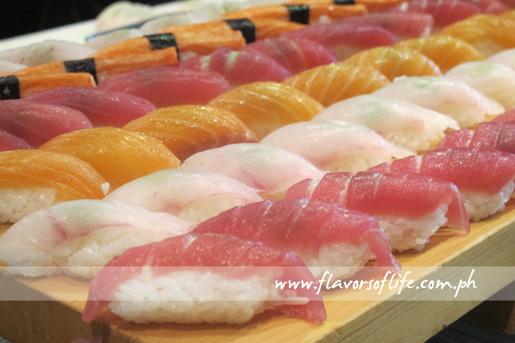 Kani, tuna, lapu-lapu and salmon sushis laid out at Umu Japanese Restaurant for Dusit Thani Manila's new Family Brunch every Sunday