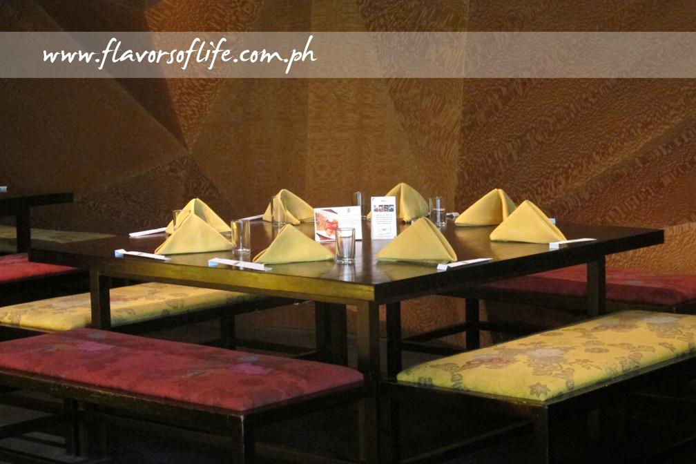 The dining setup at Umu Japanese Restaurant