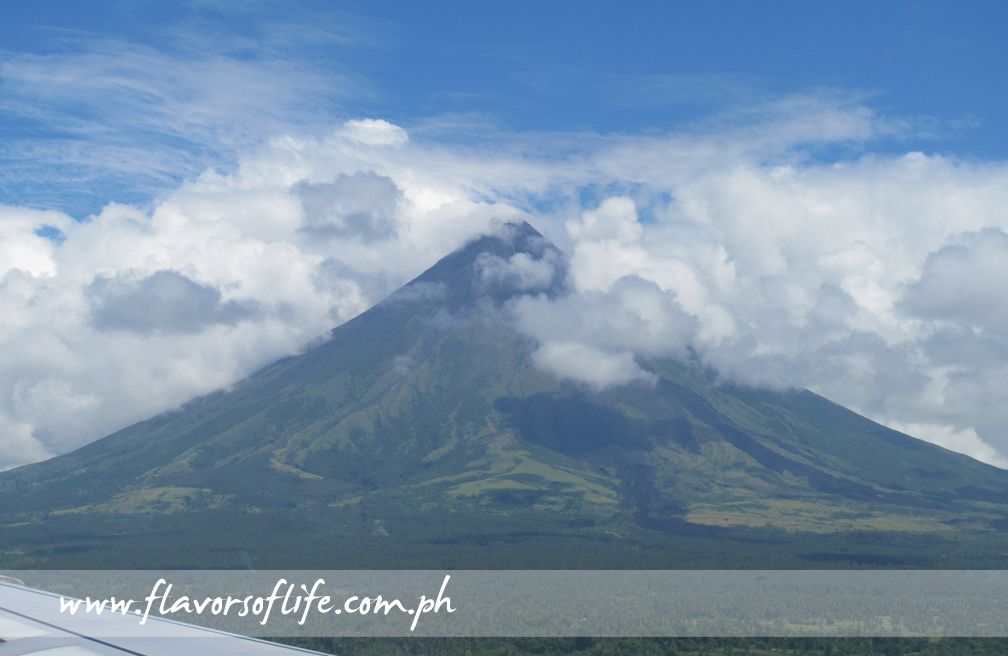 View of the perfectly cone-shaped Mayon Volcano as the plane touched down at Legazpi Airport