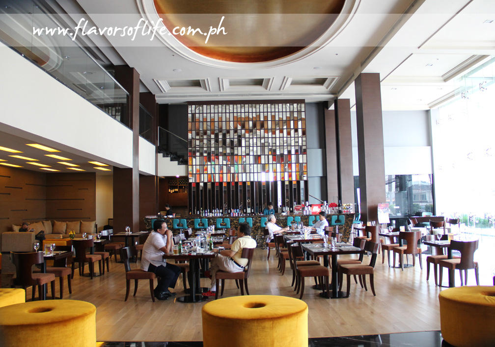The high-ceilinged Lush Bar and Restaurant at the lobby of Luxent hotel in Timog, Quezon City