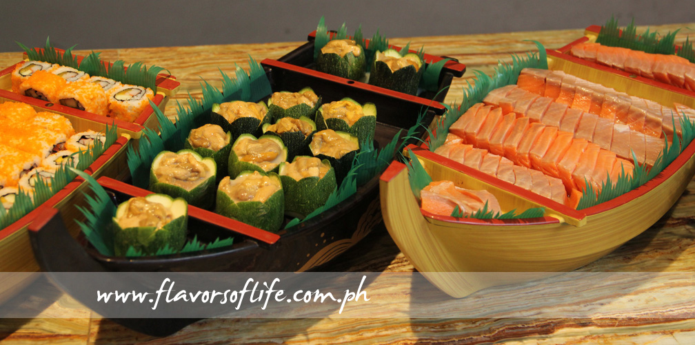 Assorted sushis, sashimis, makis and temakis form part of the appetizer spread