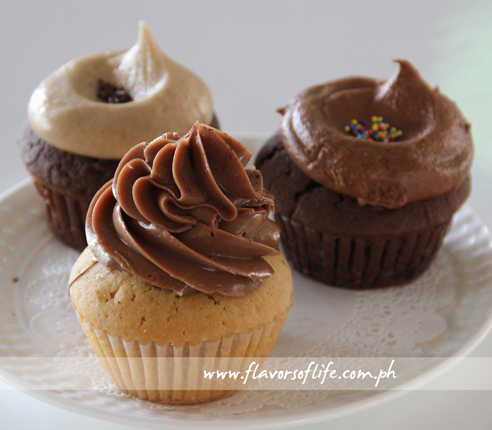 Delightful cupcakes: Peanut Butter Nutella (front), Mocha Motion (left) and Chocolate Surprise (right)