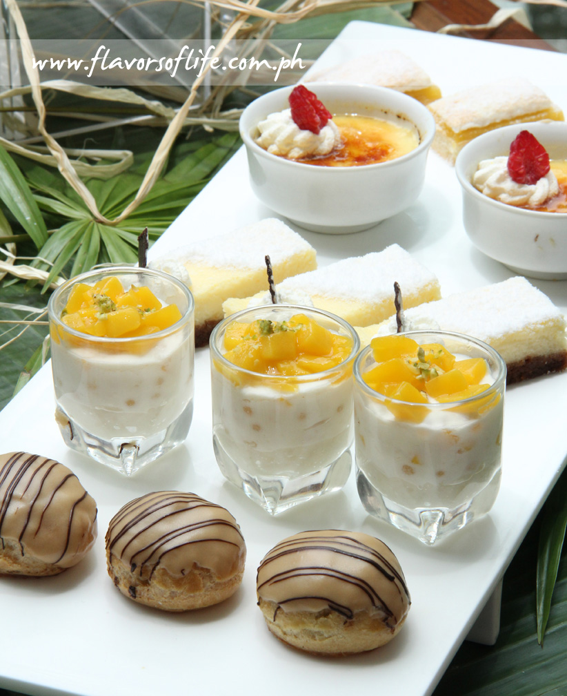 Desserts galore, from front row: Barako Coffee Profiteroles, Mango Sago Timbals, Queso de Bola Cheesecake, Buko Crème Brulée and Calamansi Meringue Pie