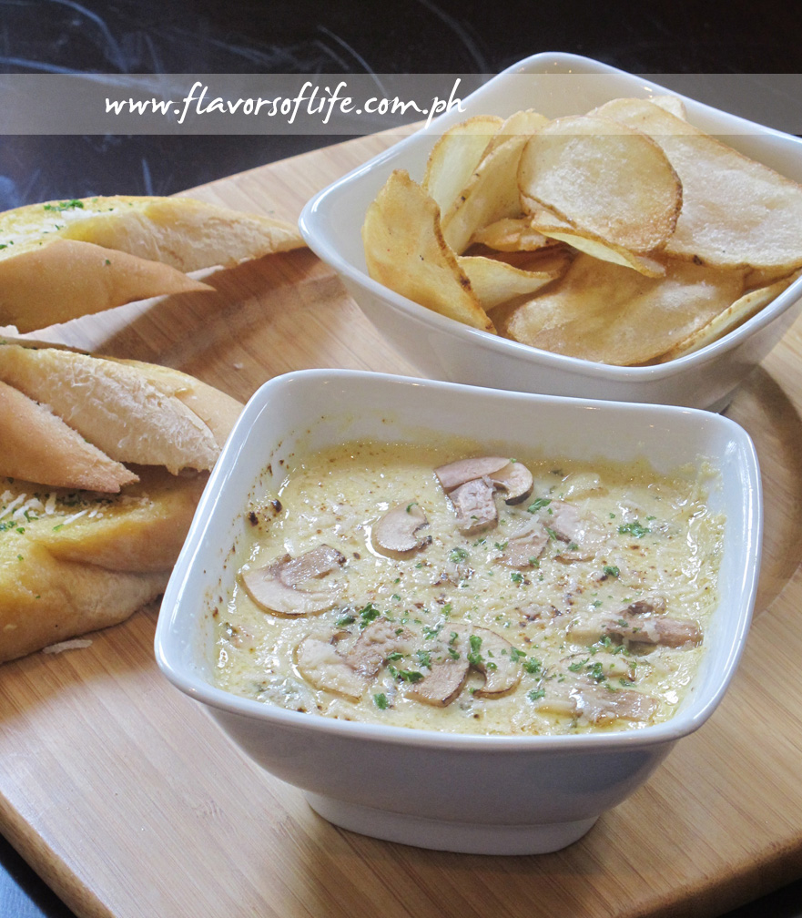 SAM (Spinach, Artichoke and Mushroom Dip served with Tuscan Bread and Chips)