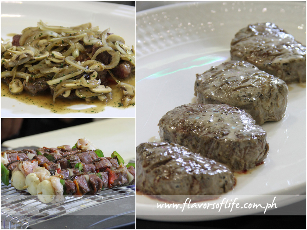 Delicious Angus beef recipes all, clockwise from top left: Grilled U.S. Rib-eye Steak with Sautéed Onion and Mushrooms; Peppered U.S. Tenderloin Steak with Creamy Cognac Sauce; and Brochettes of U.S. Beef with Peppers, Red Onion, Mushrooms and Bacon