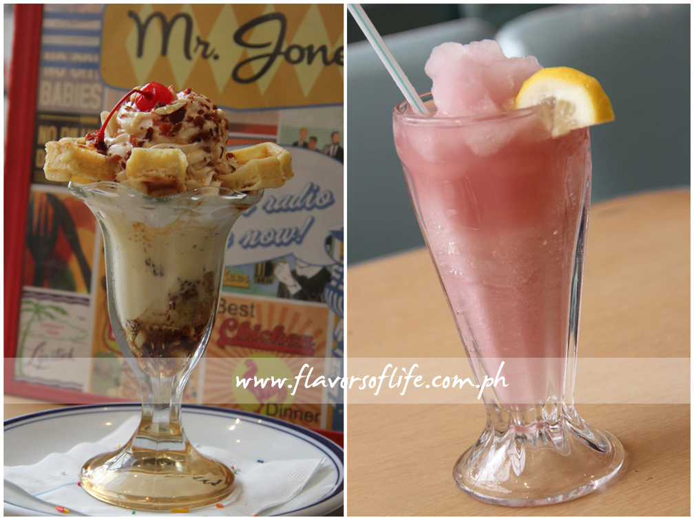 Maple Bacon Sundae (left) and Strawberry Frozen Flavored Iced Tea (right)