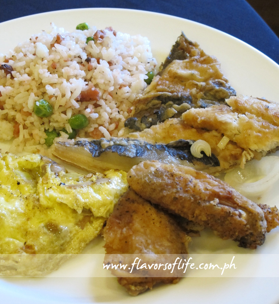 My breakfast platter of Longganisa Fried Rice, Fried bangus, Maryland Fried Chicken, and Tomato and Mushroom Omelette
