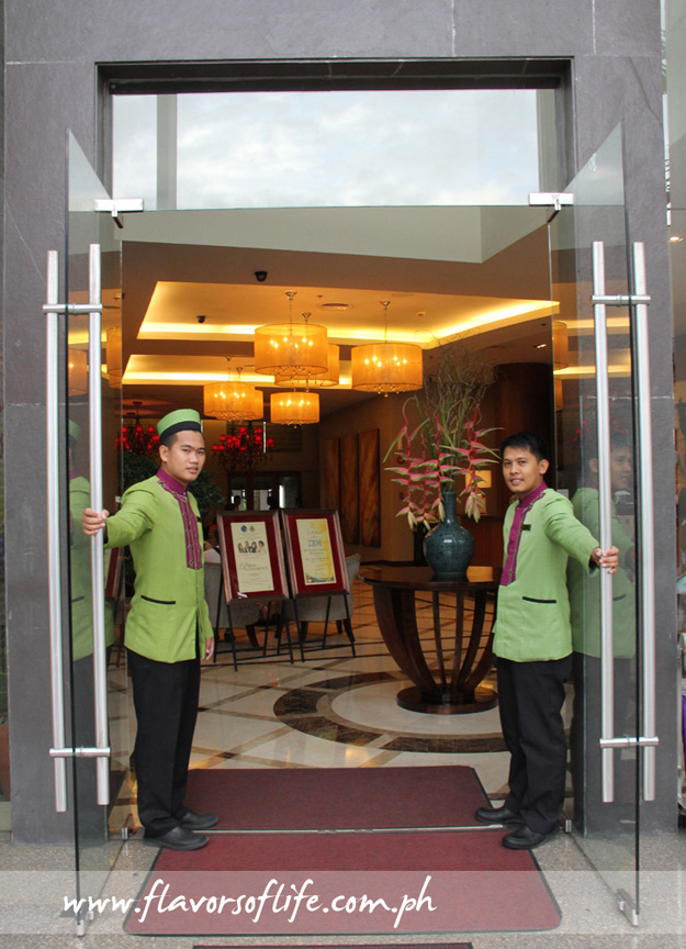Welcoming guests to the hotel...
