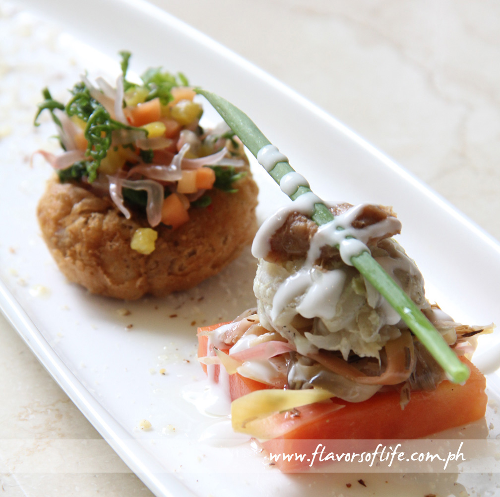 Ceviche of Banana Heart and Fresh Dilis with Taro Root Puff, Pickled Papaya, Pomelo and Fiddlehead Fern Salad with Coconut Cream