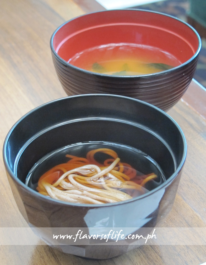 Cold Soba Soup and Hot Miso Soup