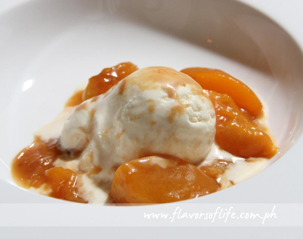 Caramelized Peaches on Vanilla Ice Cream