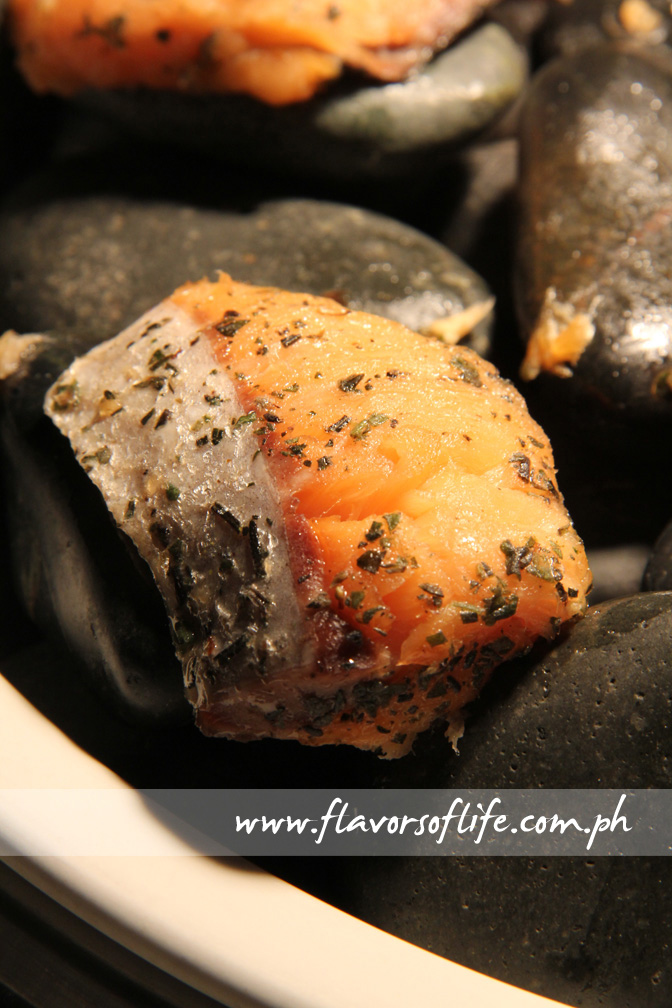 Grilled Herbed Salmon on stones