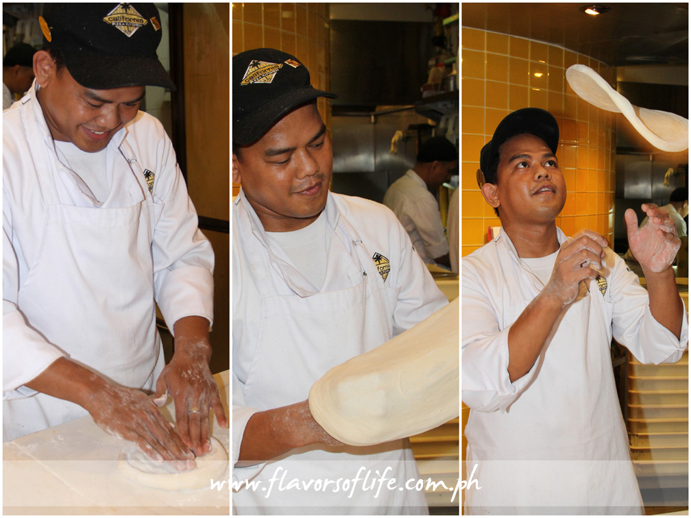 The process of making CPK's old-fashioned, hand-stretched pizza dough: Kneading the dough (left), hand-stretching the dough (center) and flipping the dough (right) before brushing the sauce on and filling it with delightful toppings