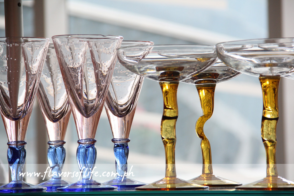 Gelato sundaes are served in exquisite Murano glasses imported from Italy