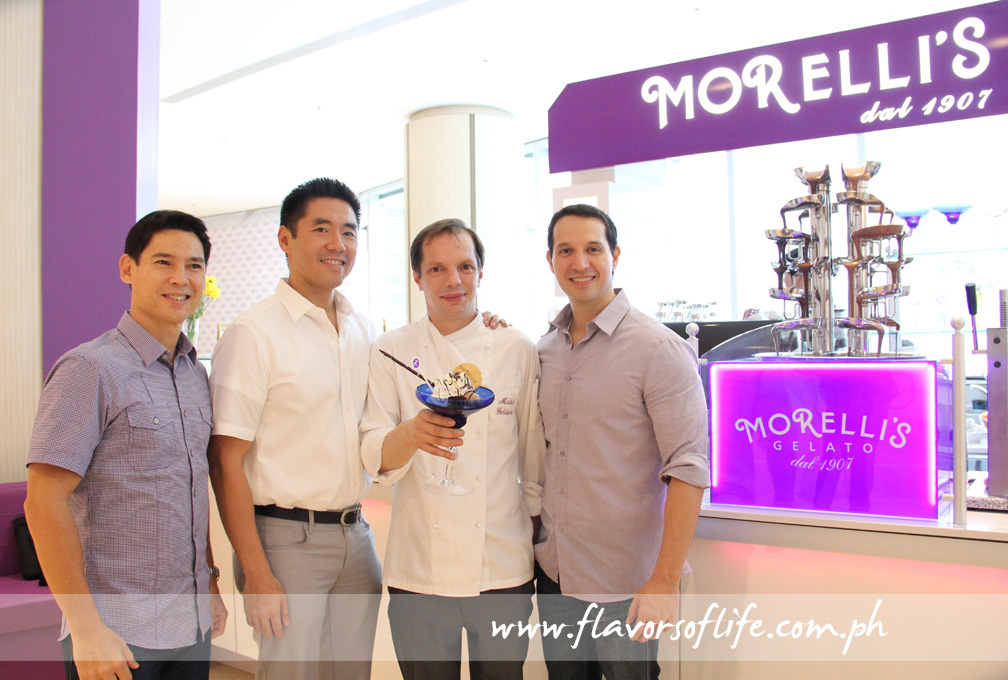 Morelli's Italian master gelatiere Gino Soldan flanked by Global Restaurant Concepts Inc.'s Manuel Zubiri, Griffith Go and Archie Rodriguez