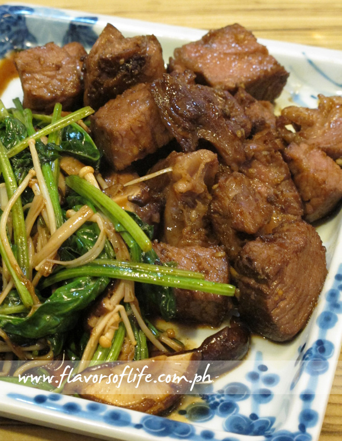 Beef with Green, Leafy Vegetables and Assorted Mushrooms