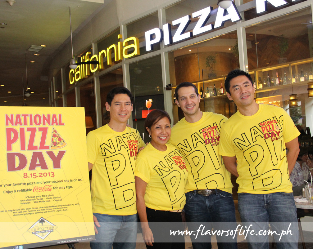 CPK's big guns Manuel Zubiri, Archie Rodriguez and Griffith Go flanking CPK senior operations director Luisa del Rosario -- all in National Pizza Day shirts!