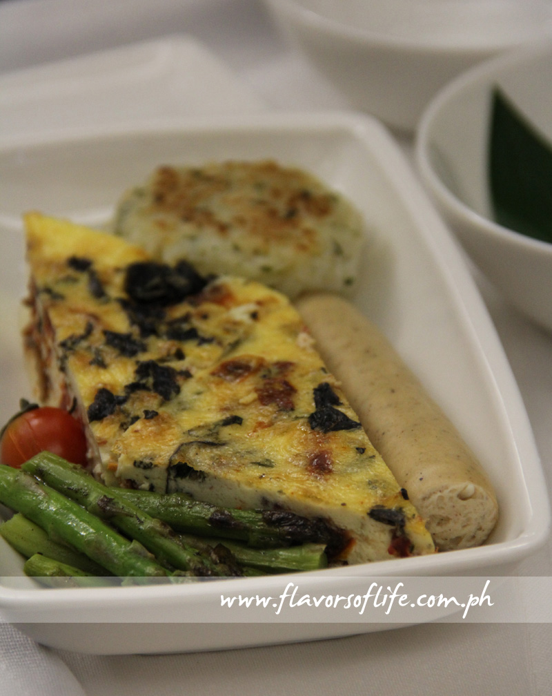 Basil and Sun-dried Tomato Fritatta and Grilled Chicken Sausage for the main meal