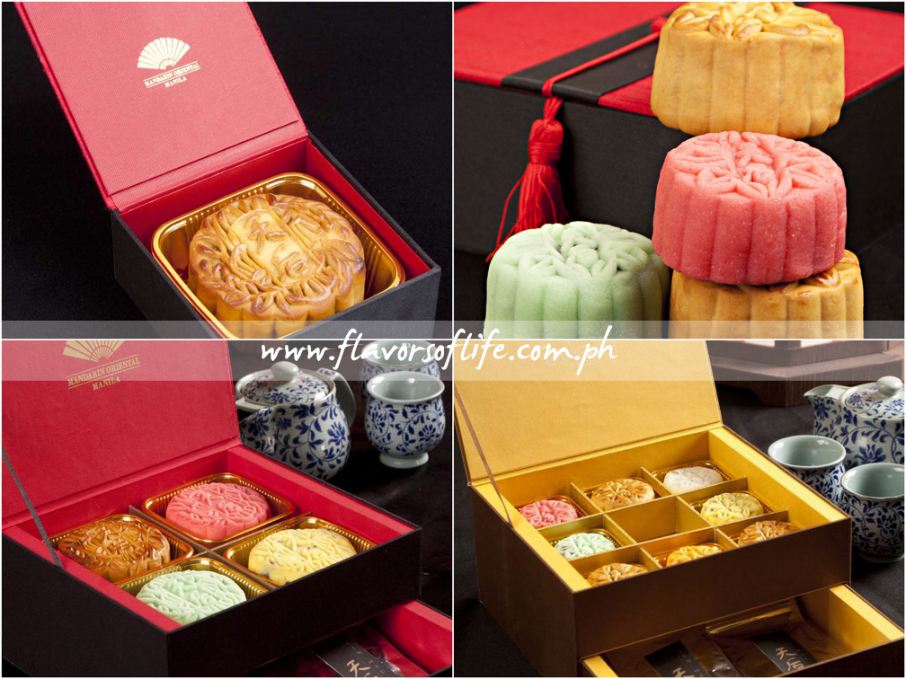 Mandarin Oriental Manila's mooncakes are available in four packages, clockwise from top left: Tin Hau Happiness, Tin Hau Delight, Oriental