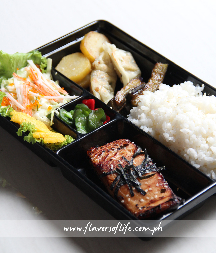 Japanese Bento Box of Miso Marinated Salmon