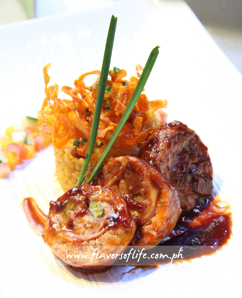 CCA-Oceana Branch's Chicken Roulade in Tomato Brown Sauce with Annatto Rice and Mango Salsa