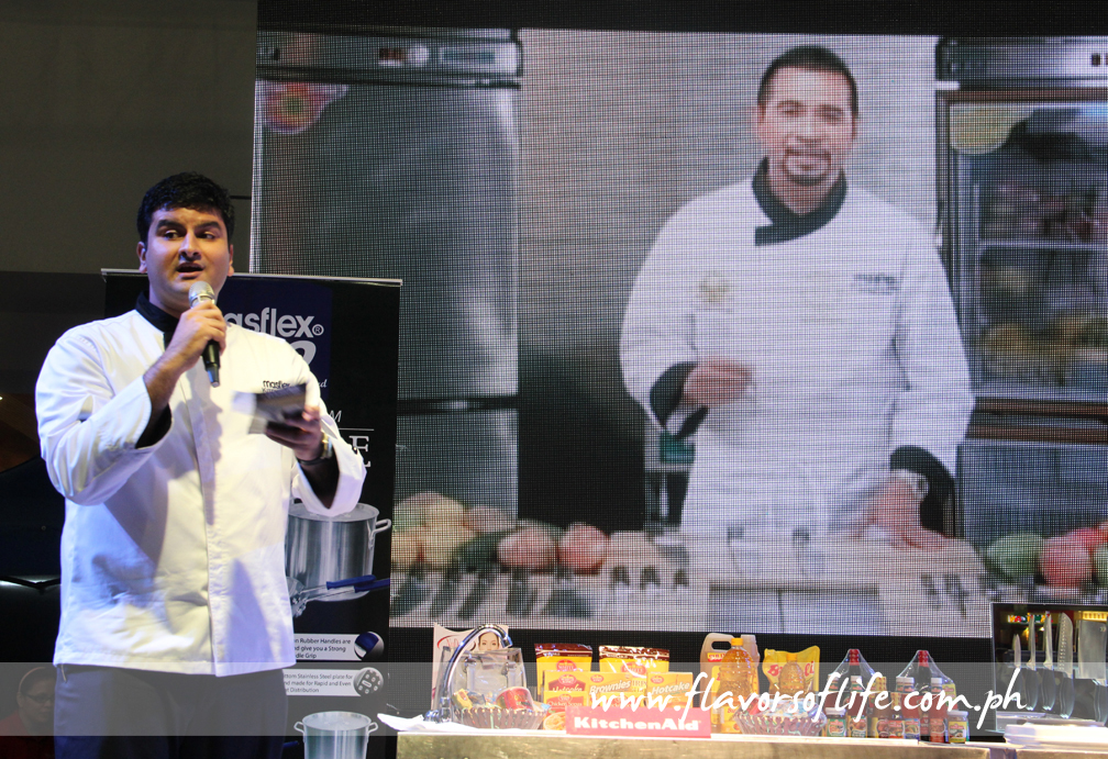 Hiren Mirchandani of Masflex KitchenPro presenting the new Gene Gonzalez knife collection before conducting a game