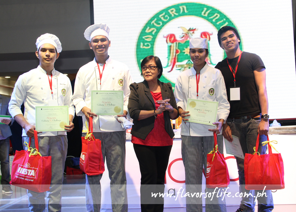 Far Eastern University receives RFM's Most Sulit I-share Recipe Award/Best Pasta Dish Award from RFM's Cora Aenlle