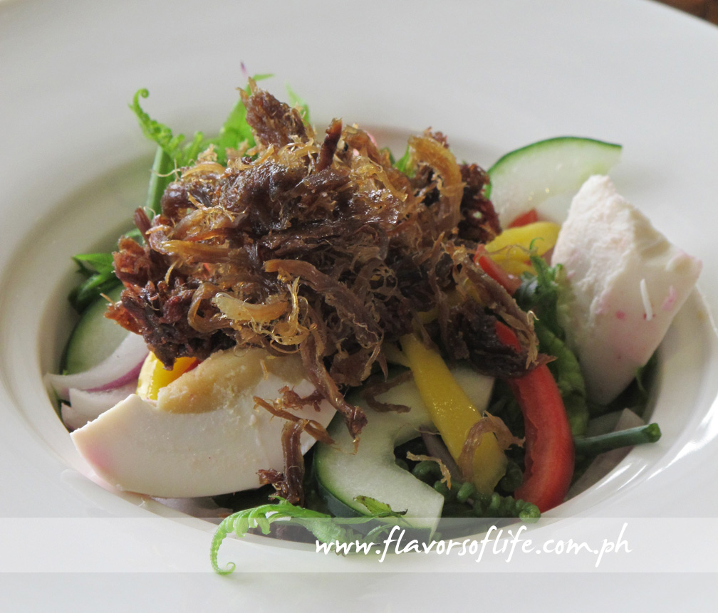 Ensaladang Pako with Fried Itik Floss (Pinac)