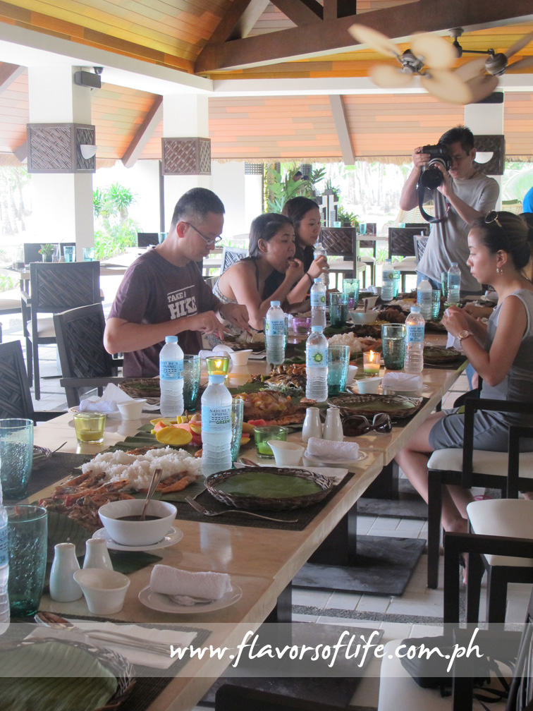 Long table at Oceanica Restaurant set for boodle fight style lunch
