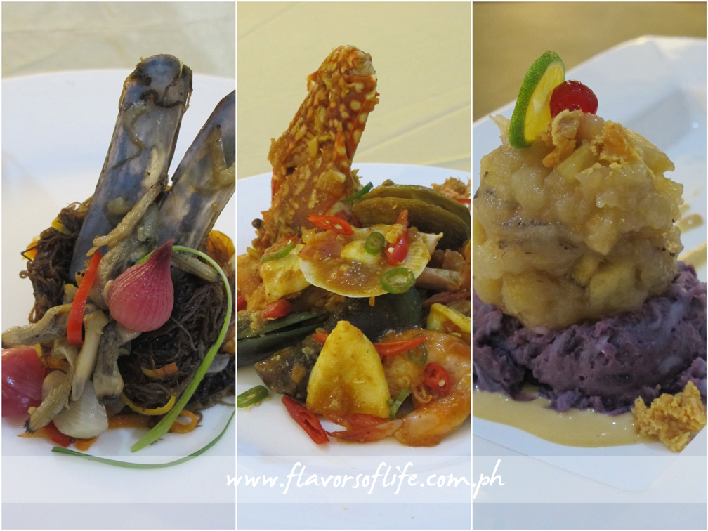 Hercor College's appetizer, Atchara nga Gulaman nga May Tikhan (left); main course, Seafood Zarzuela (center); and dessert, Dinulce nga Saging kag Ube (right)
