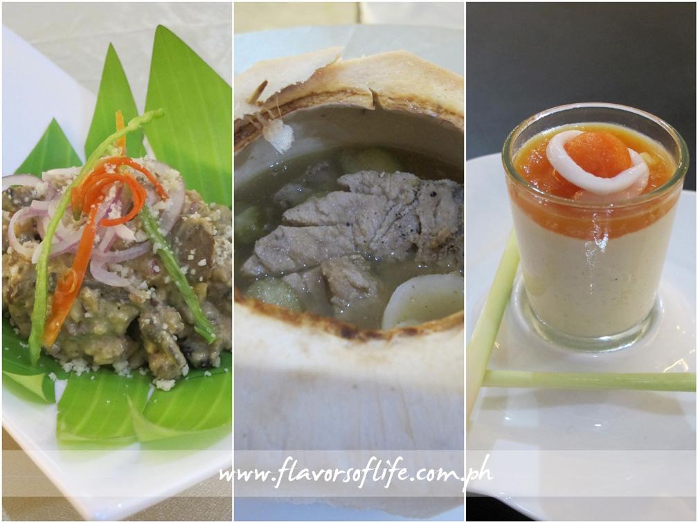 Happy Kitchen's appetizer, Kilawin nga Maskara sang Baboy (left); main course, Binakol nga Baboy sa Iba (center); and dessert, Coconut Jam nga May Dinulce nga Kapayas kag Piña sa Tanglad (right)