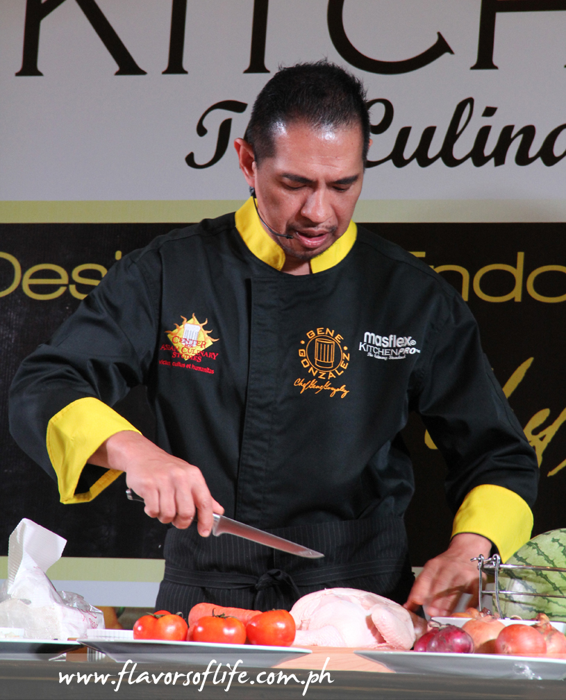 Chef Gene Gonzalez conducting a cooking demo during the launch