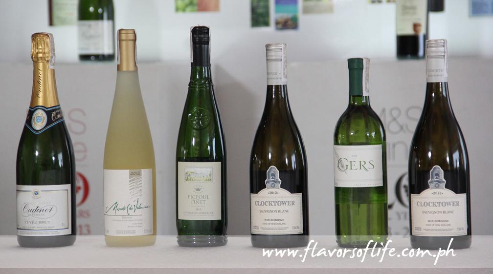 The whites, from left: Oudinot Brut NV Champagne, Moscatel De Valencia 2012, Clocktower Marlborough Sauvignon Blanc 2012, Picpoul De Pinet 2012, Vin De Pays Du Gers 2012 and Chateauneuf-du-Pape Les Closiers 2010