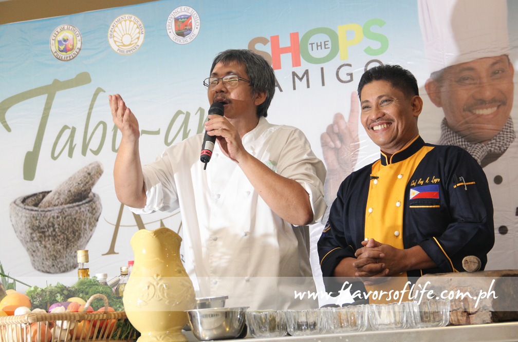 Celebrity chef Boy Logro in a cooking demo at The Shops at Amigo, here with Tabu-an organizer Chef Rafael 'Tibong' Jardeleza II