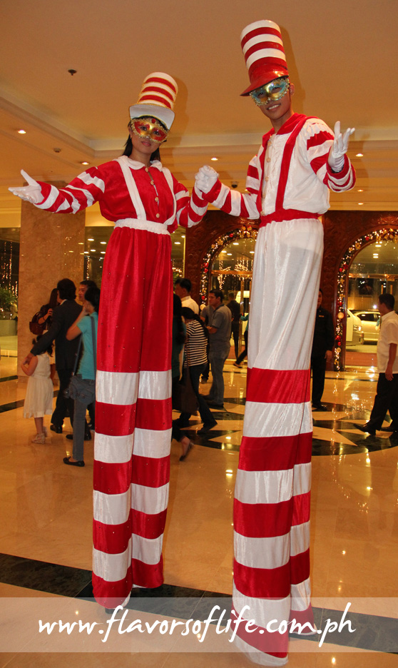 Stilt walkers entertaining the guests