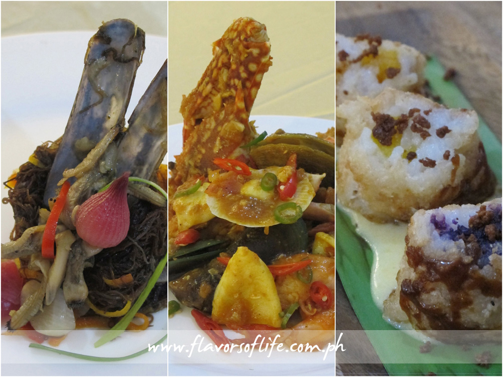 ATchara nga Gulaman nga May Tikhan by Hercor College, Best in Appetizer (left); Seafood Zarzuela by Hercor College, Best in Main Course (center); and Pinirito nga Ibus by Colegio del Sagrado Corazon de Jesus, Best in Dessert (right)