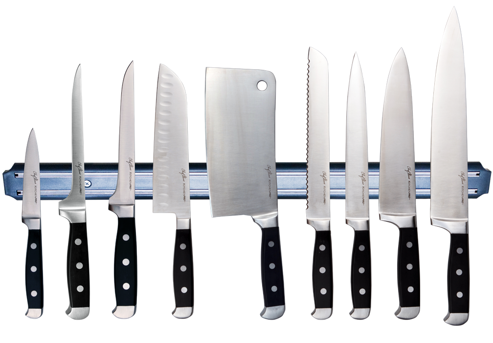 The Masflex KitchenPro Culinary Knife Collection with Power handle, from left: 3.5-inch Paring Knife, 6-inch Fillet Knife, 6-inch Boning Knife, 7-inch Cleaver, 7-inch Santoku Knife, 8-inch Serrated Knife, 8-inch Slicing Knife, 8-inch Chef's Knife and 10-inch Chef's Knife