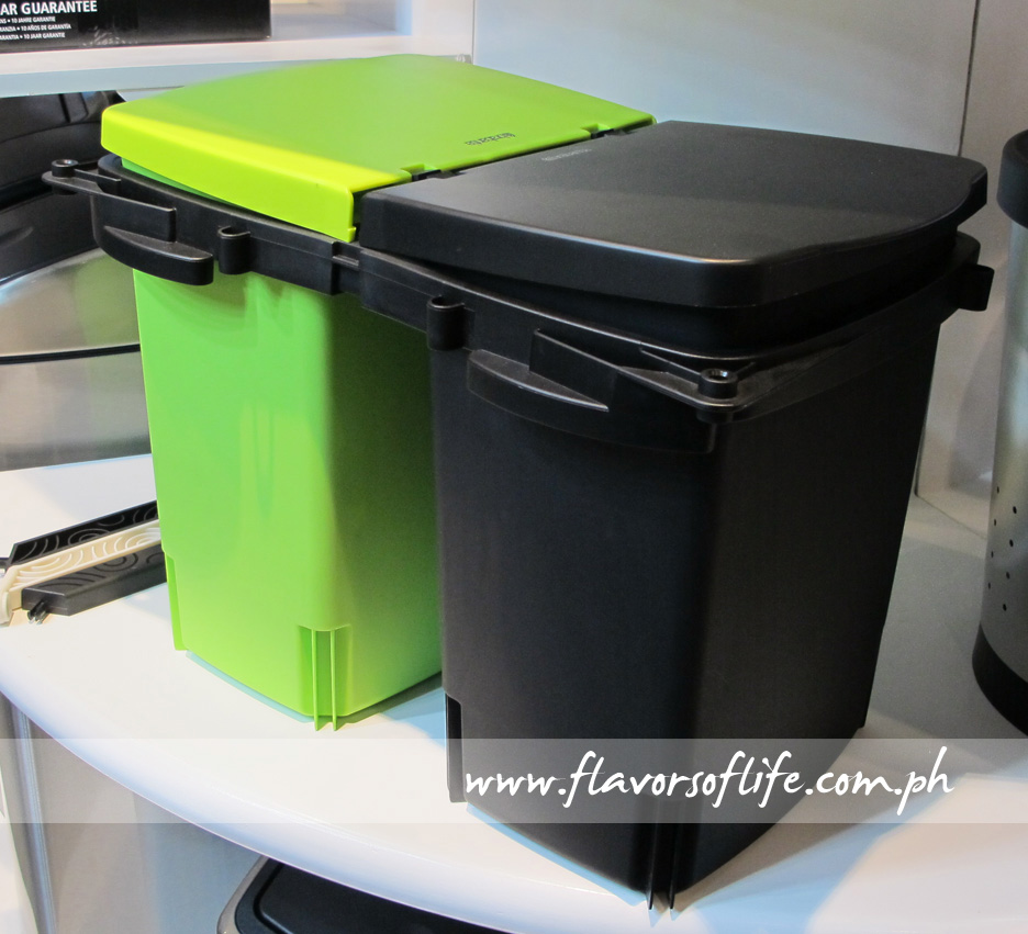 Side by side waste bins