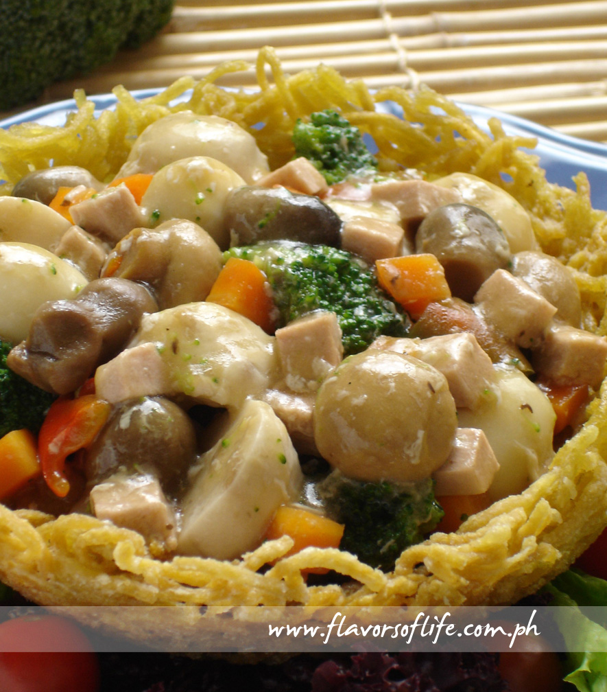 Vegetarian Delight in Noodle Nest from the Pinoy Vegetarian Cookbook